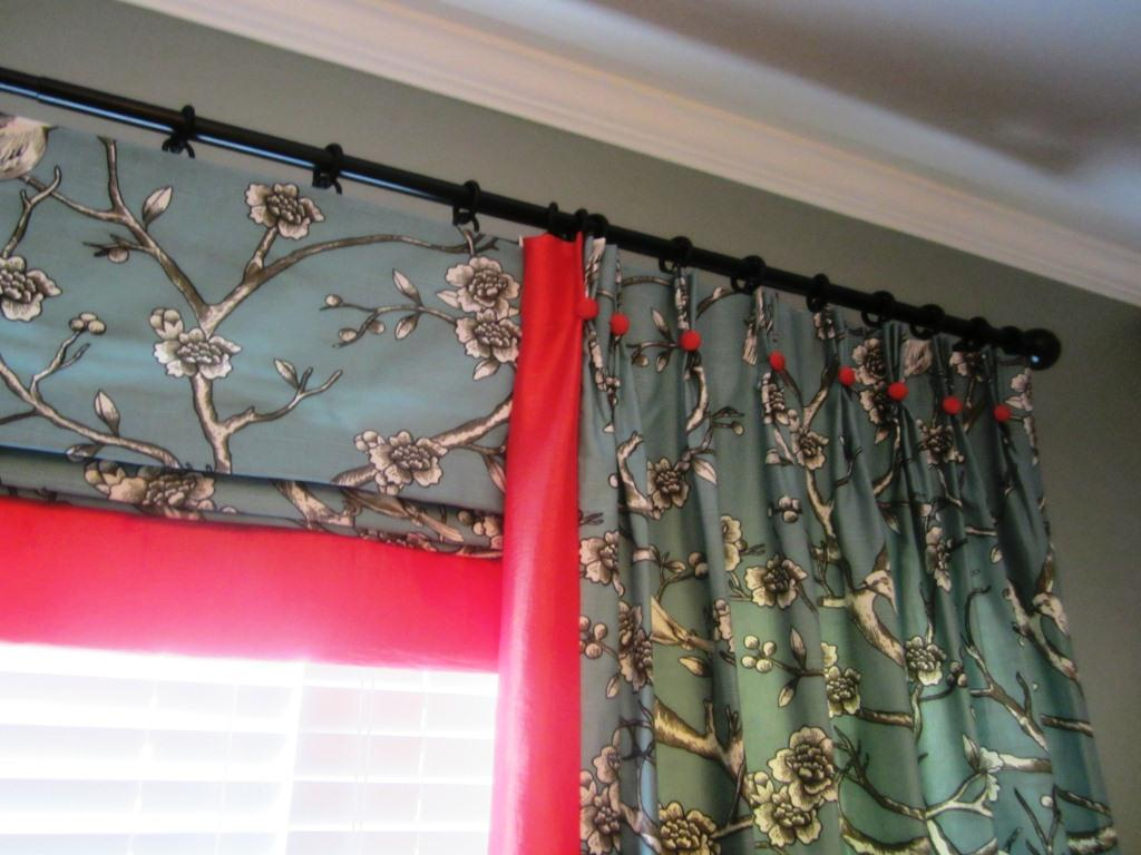Panels And Faux Roman Shade Valance Window Treatment And A
