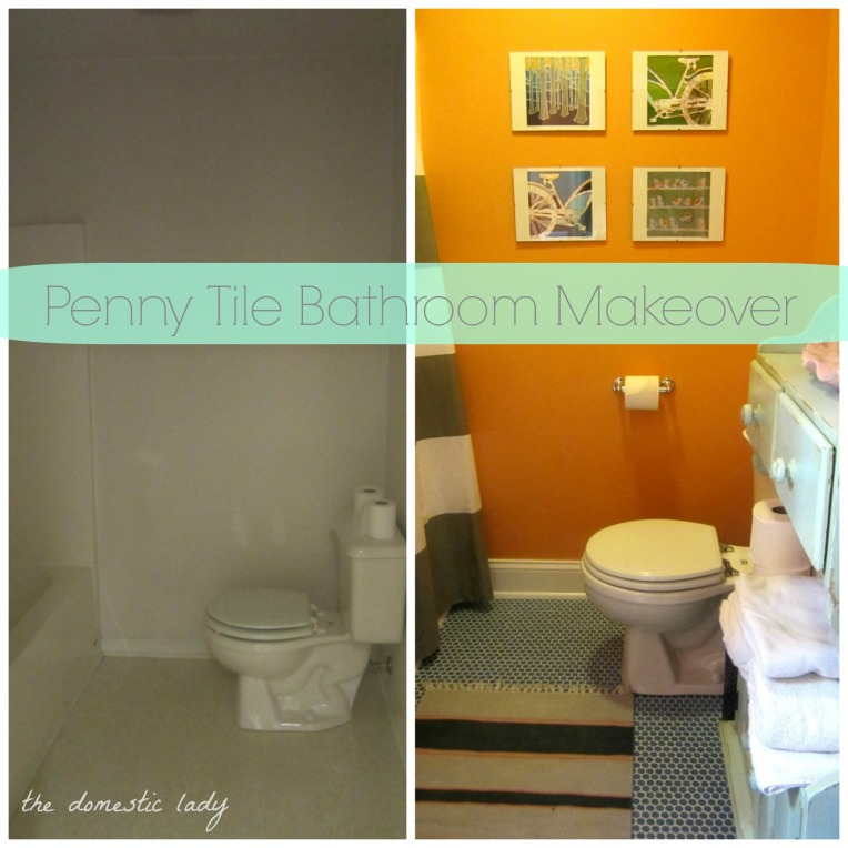 The Domestic Lady -Penny Tile Bathroom Makeover